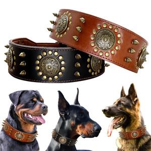 Leder Große Hundehalsband Pitbull ährentragende verzierte Halsbänder für Mittel Groß Große Hunde echtes Leder Durable Hundehalsband Brown