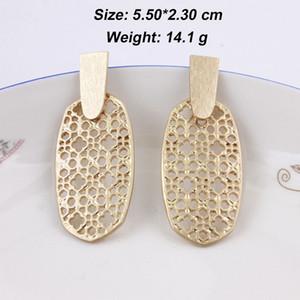 Fashion- Messing Bar Gold Silber Filigree Oval geformte Statement Ohrringe für Frauen Helle Hammered Geometrische Tropfen Schmuck