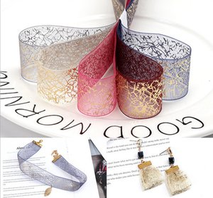 25mm bronzed snow gauze ribbon DIY handmade earrings earring bow hairpin collarbone chain material packaging accessories 5 colors