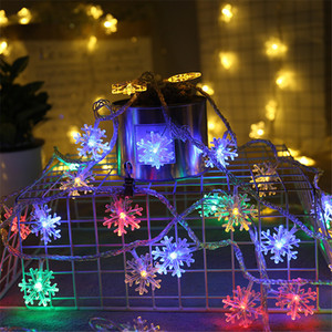 New Year LED snowflake string lights Merry Christmas Decorations for Home Interior room bedroom background with festive lights