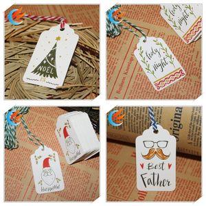 Joyeux Noël DIY Papier Étiquettes En Papier Creative Collection Raphing Collection Carte Mini Chaîne Cartes De Vœux Fit Cadeaux Wrap Décoration 3 1nw E1