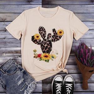 Kadın Yaz T-shirt 2020 Yeni O yaka Kısa Kollu Sevimli Cactus Üst Kadınlar Tee Casual Kadın Tee Gömlek Yaz Tee Tops yazdır