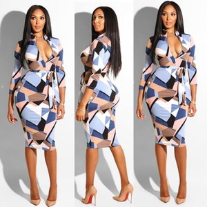 2020 nuevo verano de explosión modelos Europa y los Estados Unidos de Comercio Exterior de la Mujer manga larga a cuadros de la correa del vestido del club nocturno