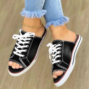 KAMUCC 2020 Top Selling Women Cutout Canvas Shoes Denim Thin Casual Spring Autumn Low-top Leisure Peep Toe Slipers