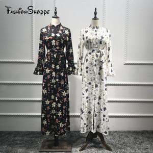 2018 New Sleeve Print Flower Dress Fashion Cardigan Buttoned Long Dress #D602