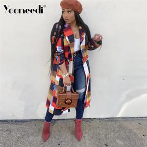 Moda Yeni Geliş Kadın Kış Seksi Stil Bayan Dış Giyim Ekose Açık Dikiş Uzun Stil Coat S3498