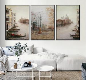 Wasser-Stadt-Landschaft Leinwand Gemälde Modular Bilder-Wand-Kunst-Leinwand für Wohnzimmer Dekoration Eingerahmt
