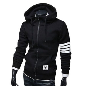 Wholesale-Black White Sleeve Zip-Up Hoodie Men M-3XL (Asia Size)