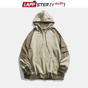 LAPPSTER-Youth Men Green Color Block Hoodies 2020 Mens Harajuku Hooded Hoodies Male Streetwear Korean Oversized Sweatshirts Y200704