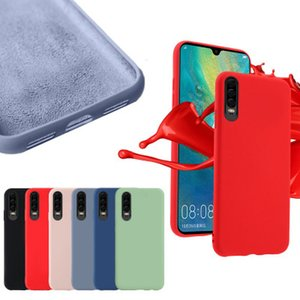 Líquido original Oficial de caucho de silicona suave cubierta del caso para Huawei P30 P20 Pro Lite P10 Plus mate 20 x 10 Nova 4 Honor 8A 8X V20 Disfrute 9 SE