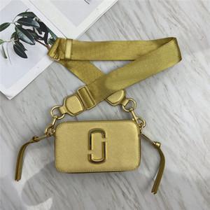 moda yüksek kaliteli mj 2020 geniş omuz askısı mektup küçük kare çanta deri bayan çanta çift fermuarlı omuz çantası kamera çantaları