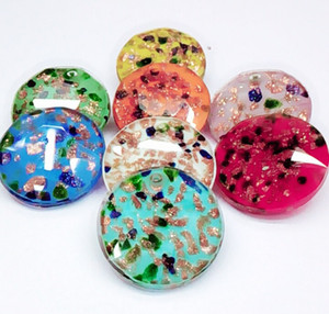 10pcs / lot gros Lampwork or dessinée à la main Murano multicolore Confetti ronde Sable Fancy Pierres Flat Top Pointback Bijoux Pendentif 27mm