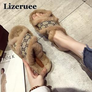 Cross-tied Fur Chinelos de Inverno Sapatos de Design Ocidental Cozy Flip Flops zapatos mujer Aberto Toe Plana Slides Coreano Marca Slides mulheres