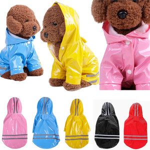 PET DOG PU PU Chaqueta de la chaqueta de la capa impermeable Sudadera con capucha Colthes Puppy Apparel S-XL Super Cool 5 colores DDA504
