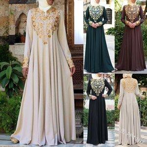 Siskakia Muslim Women Ethnic Print Abaya Dress O Neck Long Sleeve Fit and Flare Pleated Swing Maxi Dresses Arab Islam Clothing