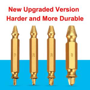 4pcs Titanium Damaged Screw Extractor Drill Bit Bolt Stud Remover Tool Kit Gold
