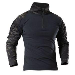 T-Shirt da trekking da uomo Army Tactical SWAT Soldati Combat T-Shirt Camicie maniche lunghe Camouflage Paintball Tees 4xl