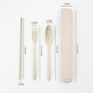 Buğday Straw Çatal Seti Seyahat bulaşığı ile Yemek takımı Vaka Çevre dostu Kaşık Çatal Chopsticks Seti Açık Taşınabilir sofra takımı LXL868-A