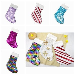 Forniture Gifts Decorazione natalizia reversibile paillettes Stocking ciondolo accessori Hang Candy Bag Party Bag 5 colori ZZA1121 50PCS