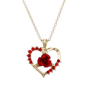 10pcs / sürü Sıcak satış moda Kakma Aşk kalbin zirkon gül kolye Salkım kadın Parti Yıldönümü Hediye nişanlandı
