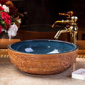 Art Wash Bowl Round Wash Basin Lavabo Counter top Sink Vessel Bathroom sinks wash basin
