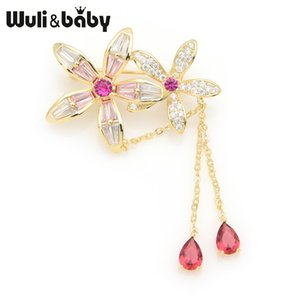 Wulibaby Crystal Flowers Red Pink Tassel Banquet Matrimoni Spille per le donne Regali di Capodanno