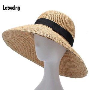 Kadınlar Plajı Şapka Moda El yapımı Büyük Geniş Brim Kepçe Visor İçin Yeni Rafya Kadınlar Straw Summer Sun Şapka Hediye Caps