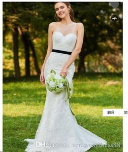 One Shoulder Velvet Belt Mermaid Lace Wedding Dress