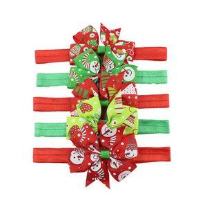 Vert / Couleur Rouge bébé Bandeau avec fleur arc neige Snomen Gants d'arbre de conception élastique turbam pour Noël Accessoires cheveux tête Wrap