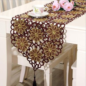 Fyjafon Table Runner Classical Table Runners 40 * 150cm To 40 * 246cm Hollow Modern تطريز Table Runner Coffee Red Y200421