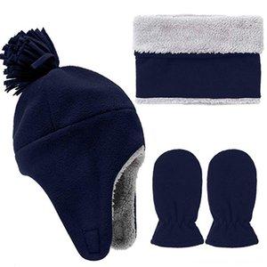 3pcs bébé d'hiver Set chaud enfants Micro polaire Pilot Chapeau Chapeaux Casquettes Chapeaux, Foulards Gants Mitten et écharpe Camping Thermal Toison Hat