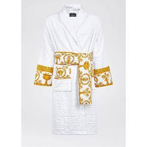 Medusa barroca modo jacquard firmar bata blanca con el lujo impresa logotipo del diseñador albornoz 100% algodón con juego de toalla de playa del mismo diseño