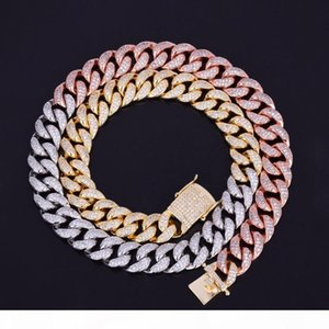 Hot Seller 12mm Iced Mix Colors Out Zircon Cuban Necklace Chain Hip hop Jewelry Copper Material CZ Clasp Mens Necklace Link 18-28inch