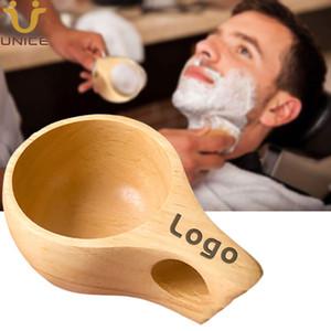MOQ 50 pcs Personalizar LOGO Beard Shaving Soap Raspando a caneca bacia de madeira premium para creme de barbear sabão de barbear Cup Men Grooming