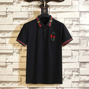 The New 2,020 Itália Marca Designers Polo Luxo camisetas cobra abelha florais homens bordados polos High street polo da listra da forma de impressão