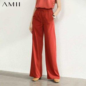 Amii minimalista verano pierna ancha pantalones ocasionales de las mujeres de cintura alta sólido suelto femeninos pantalones rectos 12030043