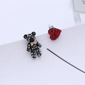 s925 Silver Earrings For Women Cute Bear Heart Asymmetry Earring Fashion Crystal Ear Stud Brand Jewelry