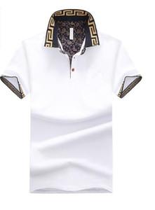 Der Luxusdesigner-Hemden der neuen Art Mens männlicher Sommer drehen unten Kragen-kurze Hülsen-Baumwollhemd-Männer beiläufige Polo-Oberseiten um