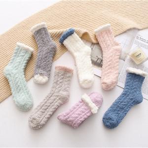 Lady Winter Warm Пушистый коралл Velvet Толстые полотенце носки конфеты цвет пола сна нечеткие носки Женщины Девушки чулки M1062