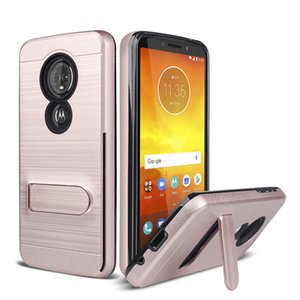 TPU + PC Funda híbrida Kickstand de impacto para Motorola Moto E5 Plus X5 G7 Supra Power G6 E4 G5 Cubierta con ranura para tarjeta