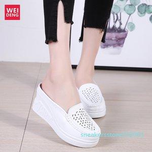 Weideng Kalın Alt Casual Gerçek Deri Yürüme Platformu Ayakkabı 8 Cm Kadınlar Sandalet takozları Nefes Kaymaz Yaz S01 arttırın