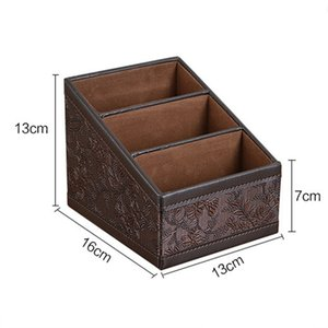 Retro PU Leather Cosmetic Storage Box Remote Control Phone Holder Table Organizer for Home Office Storage Case Other Home Storage & Organiza