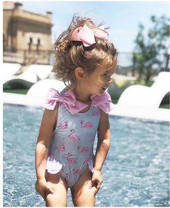 Kids Costume Swimsuit Polka Dot Bathing One-Piece Suits Girls Cartoon Printed Tankini Toddler 1-5T Triangle Beachwear