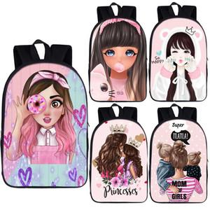 청소년 여자 학생 배낭 Bookbag 귀여운 만화 소녀 공주 배낭 멋진 엄마 여성 배낭 아이들 학교 가방