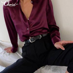 Raso di modo camicetta Celmia donne eleganti Camicie Tops Eleganti risvolto collo a manica lunga Bottoni partito casuale Slik Blusas Femininas