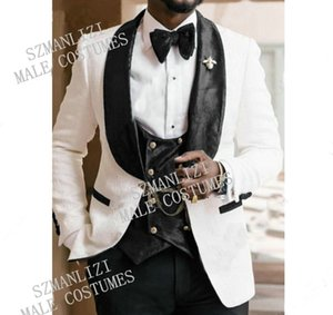 Latest Coat Pant Designs White Men's Classic Suits for Wedding Handsome Groom Tuxedo Slim Fit Terno Masculino Prom Party 3 Piece