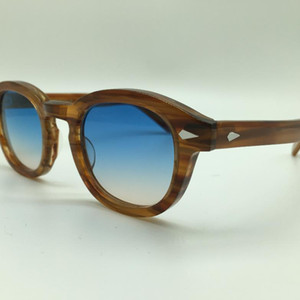 Al por mayor-SPEIKE Moda personalizada Lemtosh Johnny Depp estilo gafas de sol de alta calidad Vintage gafas de sol redondas lentes de lentes de color marrón-marrón
