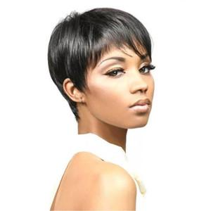 """¡Caliente! 8 """"Natural Soft Bob Negro Pelucas para Mujeres Negras Corto Recto Premium Sintético Partido Corto Frontal Lace Wigs Pelucas Cosplay Corto"""