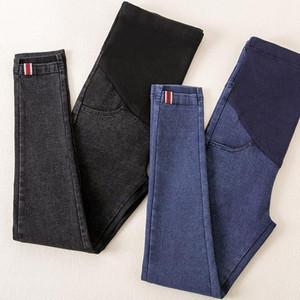 Pantalones vaqueros de maternidad de cintura elástica Pantalones para el embarazo Ropa de algodón para mujeres embarazadas Legging Otoño Invierno 2018 Otoño