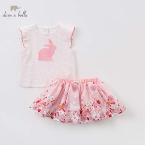 Dave bella summer baby clothing sets children tops+skirt 2pcs suits toddler infant outfit kids lovely clothes DBA6573